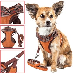 Pet Life® LUXE 'Pawsh' 2-in-1 Tangerine Mesh Reversed Adjustable Dog Harness-Leash w/ Fashion Bowtie