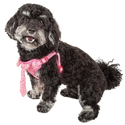 Pet Life® 'Chichi Shaggy' Pink Mesh Reversible and Breathable Adjustable Dog Harness w/ Shaggy Neck Tie
