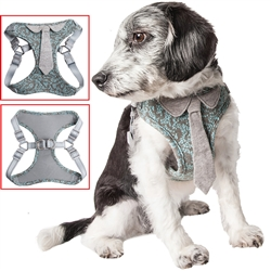 Pet Life® 'Fidomite' Blue / Gray Mesh Reversible and Breathable Adjustable Dog Harness w/ Designer Neck Tie