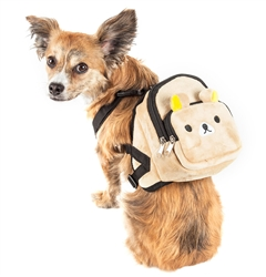 Pet Life® 'Teddy Tails' Dual-Pocketed compartmental animated Brown Dog Harness Backpack