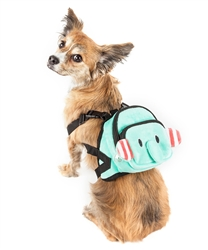 Pet Life® 'Dumbone' Dual-Pocketed compartmental animated Blue Dog Harness Backpack
