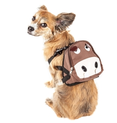 Pet Life® 'Mooltese' Large-Pocketed compartmental animated Brown Dog Harness Backpack