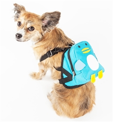 Pet Life® 'Waggler Hobbler' Large-Pocketed compartmental animated Blue Dog Harness Backpack