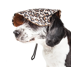 Pet Life® 'Cheetah Bonita' Cheetah Patterned UV Protectant Adjustable Fashion Dog Hat Cap