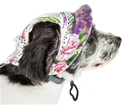 Pet Life® 'Botanic Bark' Floral UV Protectant Adjustable Fashion Canopy Brimmed Dog Hat Cap