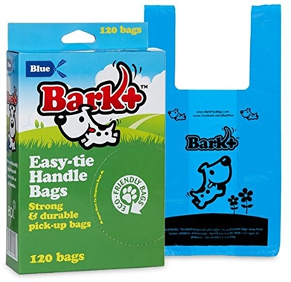 Bark+ 120 Count Dog Waste Bags with Handle, Blue