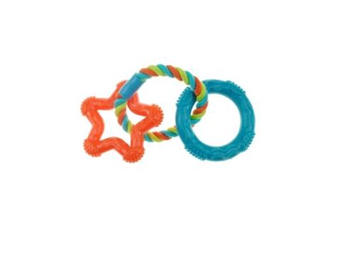 Chomper Mini 3 ring TPR Rope Star Toy