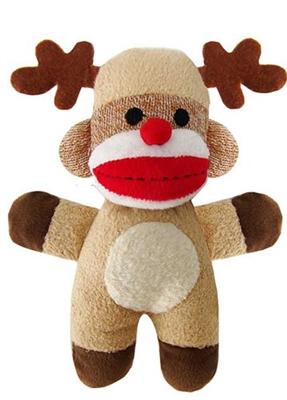 Jingle Holiday Baby Sock Monkey Reindeer by Lulubelles Power Plush
