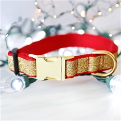Glitter Holiday Dog Collars | Gold or Silver