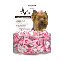 Aria Pretty In Pink Bow Canister - 48 pieces