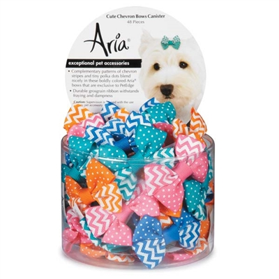 Aria Cute Chevron Dog Bows - Canister of 48