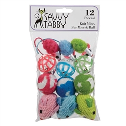 Savvy Tabby® Knit Mice, Fur Mice & Ball Toys, 12 pk