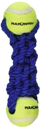 "Mammoth Braided Bone with 2 Tennis Balls, Mini 7.5"" Assorted Colors- While Supplies Last"