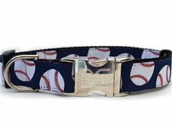 Baseball Collar  Gold Metal Buckles