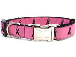 Breast Cancer Awareness Pink Collar Silver Metal Buckles