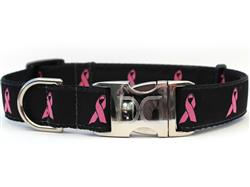 Breast Cancer Awareness Black Collar Silver Metal Buckles