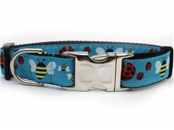 Lady Bugs & Bumble Bees Collar Gold Metal Buckles