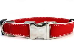Preppy In Red Collar Gold Metal Buckles