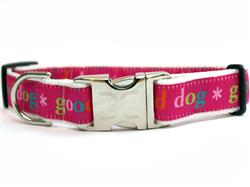 Good Dog! Pink Collar Silver Metal Buckles