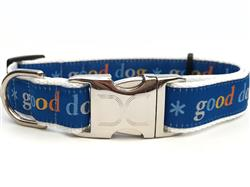 Good Dog! Blue Collar Silver Metal Buckles