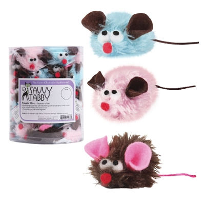 Savvy Tabby®  Snuggle Mice Cat Toys Canister, 48 pieces
