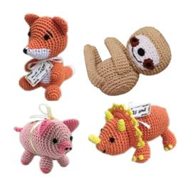 Animal Collection-Knit Knacks- Organic Cotton Small Dog Toy
