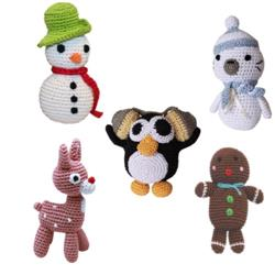 Christmas Collection- Knit Knacks- Organic Cotton Small Dog Toy
