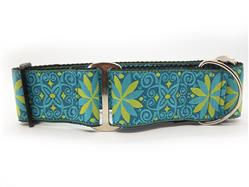 Pinwheel Caribbean Blue Extra Wide Martingale Dog Collar & Kiwi Green Velvet Leash