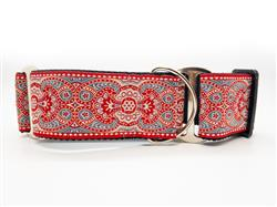 Kashmir Empress Red Extra Wide Martingale Dog Collar & Scarlet Red Velvet Leash