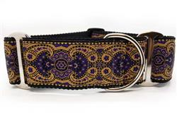 Kashmir Sultan Purple Extra Wide Martingale Dog Collar & Jet Black Velvet Leash
