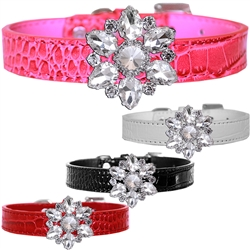 Frozen Crystal Snowflake Croc Dog Collar