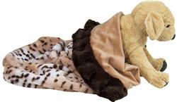 Snuggle Pouch - Aspen Snow Leopard with Divine Caramel and Godiva Brown Ruffles or  Customize your Own