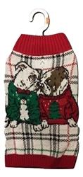 LED Light Up White Plaid Bull Dogs Sweater