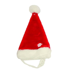 Holiday Santa Hat with Paw Red