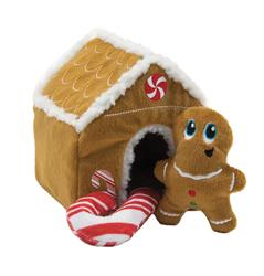 Gingerbread House Squeaking Puzzle Plush Dog Toy