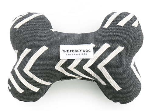 Modern Mud Cloth Black Dog Bone Squeaky Toy