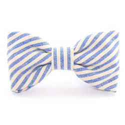 French Blue Stripe Dog Bow Tie