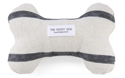 Modern Stripe Charcoal Dog Bone Squeaky Toy