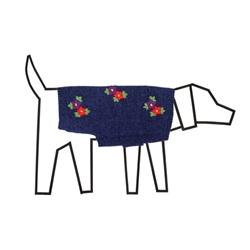 Blue Melange Embroidered Flower Sweater