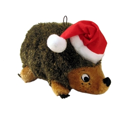 Holiday Hedgehog Squeaking Plush Dog Toy