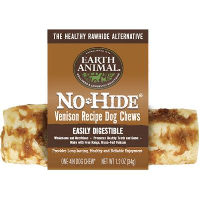 "Earth Animal No Hide Venison  Chews Dog Treats,  4"" (Case of 24)"