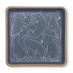 NOSEY DOG SPOT SMALL SQUARE STONEWARE TRAY