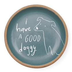 GOOD DOGGY ROUND STONEWARE TRAY