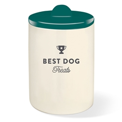 BEST DOG TEAL GREEN TREAT JAR W/ HALF MOON LID