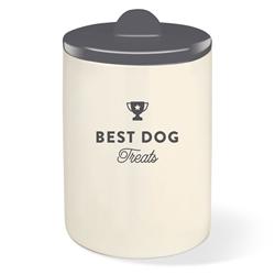 BEST DOG GRAY TREAT JAR W/ HALF MOON LID