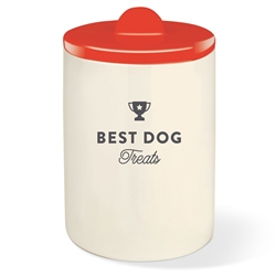 BEST DOG RED TREAT JAR W/ HALF MOON LID