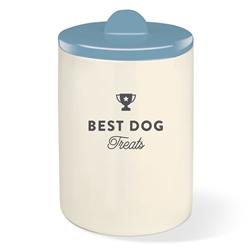 BEST DOG DUSTY BLUE TREAT JAR W/ HALF MOON LID