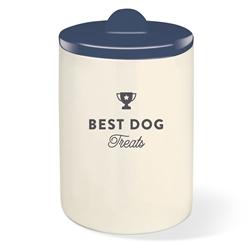 BEST DOG NAVY TREAT JAR W/ HALF MOON LID
