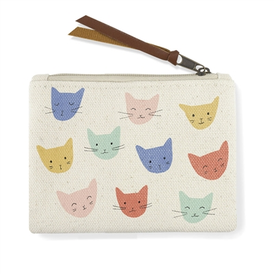 COLORED CAT HEADS CANVAS COIN POUCH