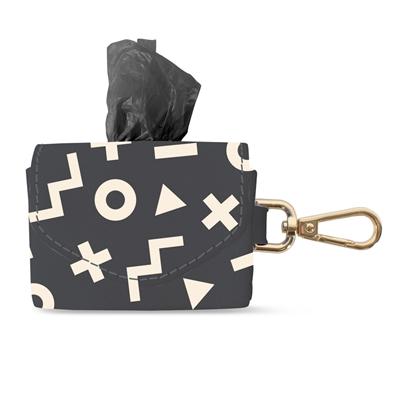 XO SHAPE FAUX LEATHER WASTE BAG KEYCHAIN